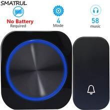 Автономный беспроводной дверной звонок SMATRUL без аккумулятора, Водонепроницаемый дверной звонок с дистанционным управлением на 150 м и вилко...