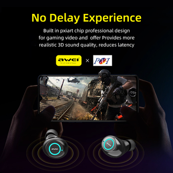 AWEI T19 TWS 5.0 2500mAh LED Display Super Bass Stereo Earbuds Noise Cancelling Waterproof IPX5 With Dual Mic For Gaming Sport 3