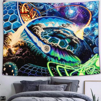 Simsant Mushroom Forest Castle Tapestry Fairytale Trippy Colorful Butterfly Wall Hanging Tapestry for Home Dorm Fantasy Decor 12