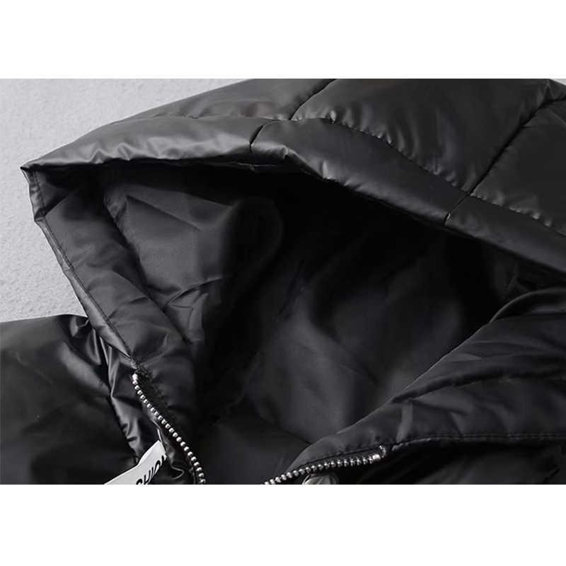 2019 Winter Glänzend Mit Kapuze Parka frauen Bänder Jacken Große Größe Winter Warm Dicken Parka Lose Mantel Frauen Jacke Dropshipping