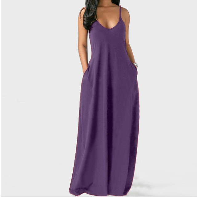 Women's Summer Long Dress Loose Sexy Spaghetti Straps Sleeveless Pockets Solid Color Maxi Dress Casual Plus Size Beach Dresses # 4