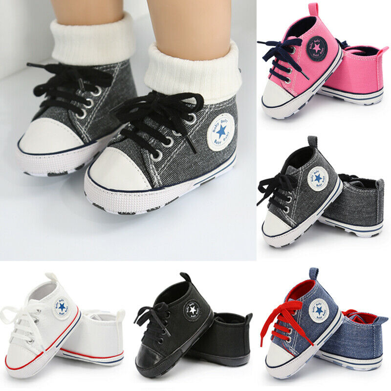 2019 New Toddler Baby Kids Boys Soft Sole Canvas Crib Shoes Anti-slip Sneakers Prewalkers