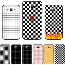 Checkerboard checkered flowers Silicone Phone Cover For Samsung Galaxy J2 J4 J5 J6 J7 J8 2016 2017 2018 Prime Pro plus Neo duo(China)