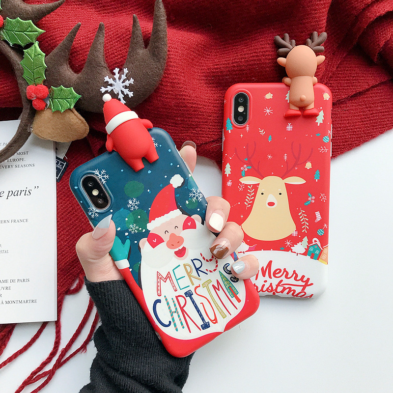 Christmas Phone Case With Cute Doll For IPhone XR 11 Pro XS Max 7 8 6 Silicone Phone Matte Cartoon Cover Creative Gifts