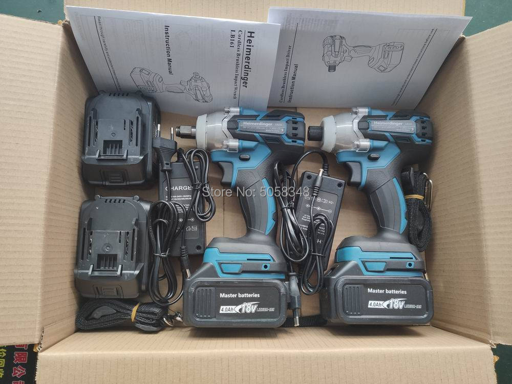 Купить с кэшбэком Electric Rechargeable Brushless Impact Wrench Cordless and brushless Impact driver drill combo with four 18V 4.0Ah Battery