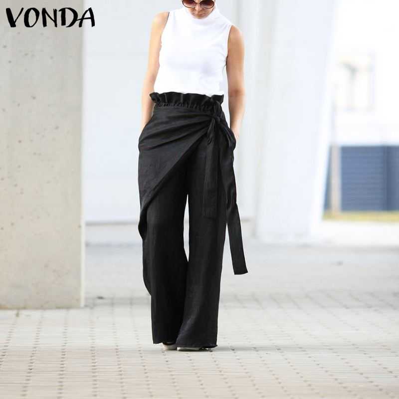 VONDA Plus Size Women's Trousers Summer Solid Color Wide Leg Long Pants Casual Elastic Waist Pants Fashion Summer Pantalon 5XL