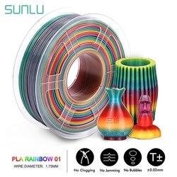 SUNLU Rainbow PLA Filament 1.75MM 1KG ที่มีสีสัน PLA Filament ขนาดความถูกต้อง +/-0.02 มม.ใหม่ 3D เครื่องพิมพ์วัสดุ