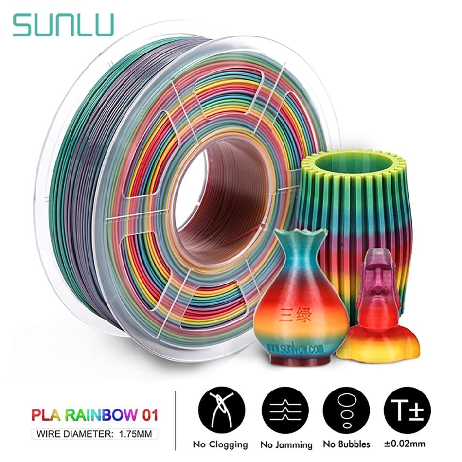SUNLU Rainbow PLA Filament 1.75MM 1KG Colorful PLA Filament Dimension Accuracy +/-0.02mm New Arrival 3D Printer Material