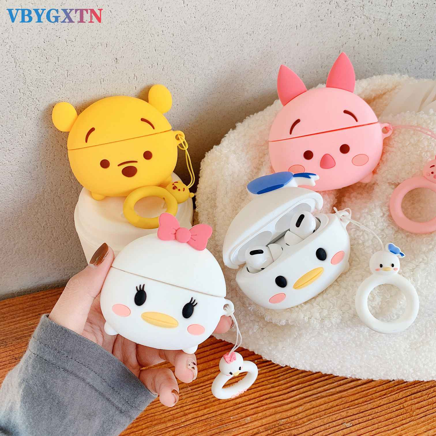 Funda For Apple AirPods Pro Case Cartoon Pig/duck 3D Animal Silicon Headset Cover For Air Pods Pro 3 Tws Bluetooth Earphone Case