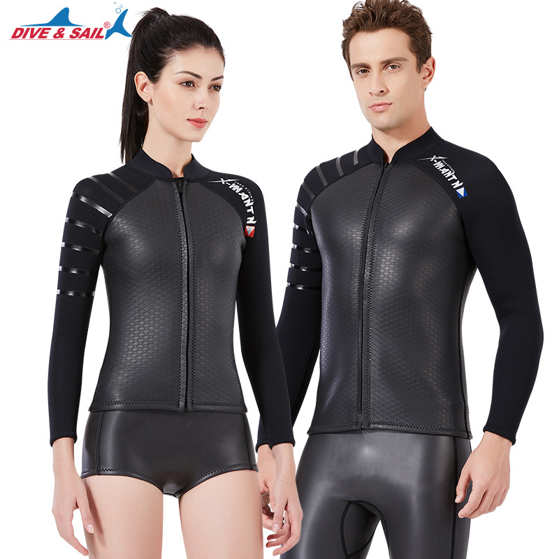 3mm Adults Smoothback Diving Jackets Neoprene Patchwork Scuba Snorkeling Sports Equipment Split Warm Wetsuit for Men Women