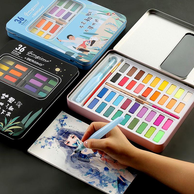 Bgln ensemble de peinture à l'aquarelle solide 36 couleurs enfants débutants peint à la main peinture à l'eau couleur solide fournitures d'art