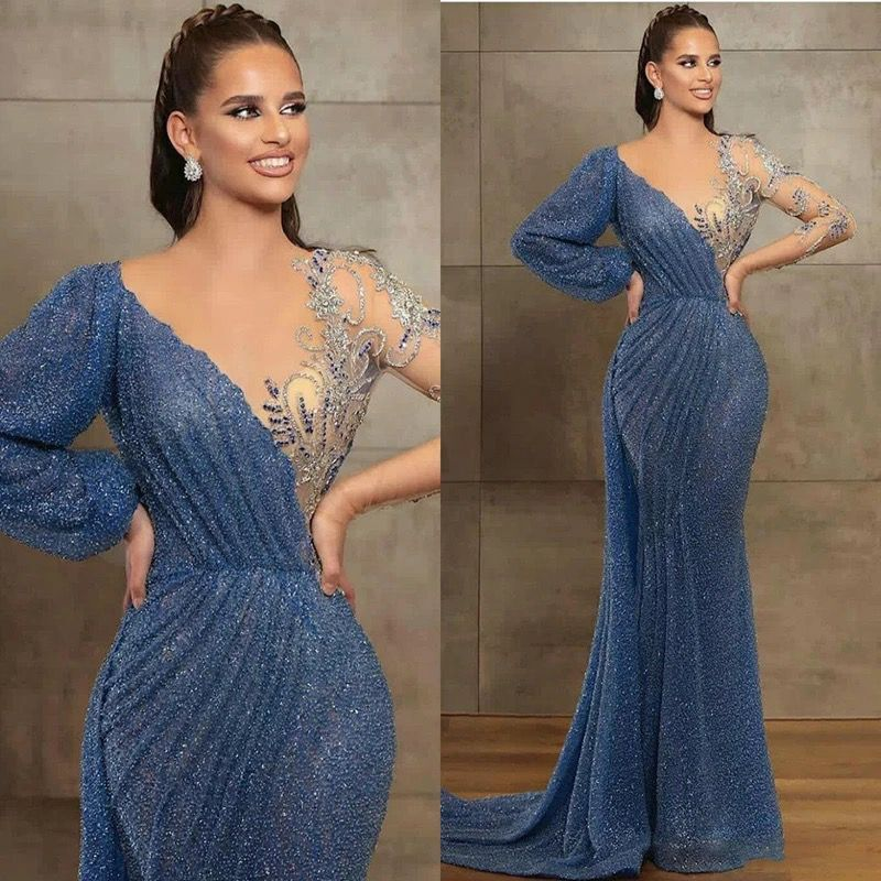 Sparkle Evening Dresses With Skirt Long Sleeve Sequins Illusion Appliques Mermaid robe