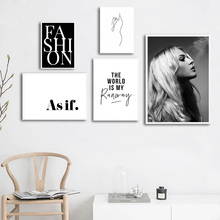 Black And White Quotes Canvas Painting Fashion Beauty Posters Prints Abstract Print Wall Art Picture Home Decor