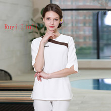 Beautician nail shop work clothes new short sleeves autumn winter wear beauty salon health hall