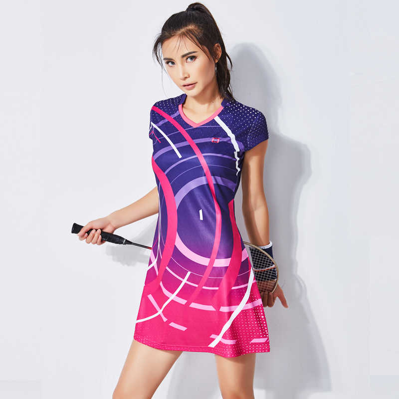 New Summer Badminton Dress Women's Suit Short Sleeve Quick-drying Sports Clothing Tennis Dress with Safety Short
