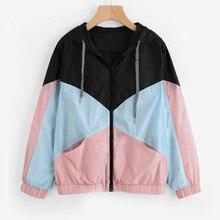 Женская ветровка, куртка для бадминтона, женский многоцветный лоскутный жакет с капюшоном, базовые куртки, пальто с цветными блоками для женщин S11