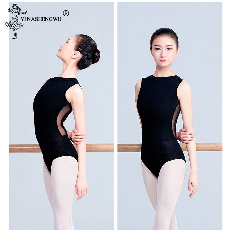 Women Black Mesh Dance Leotards High Collar Ballet Leotards Adult Ballet Practice Dance Costume Open Back Gymnastics Leotard