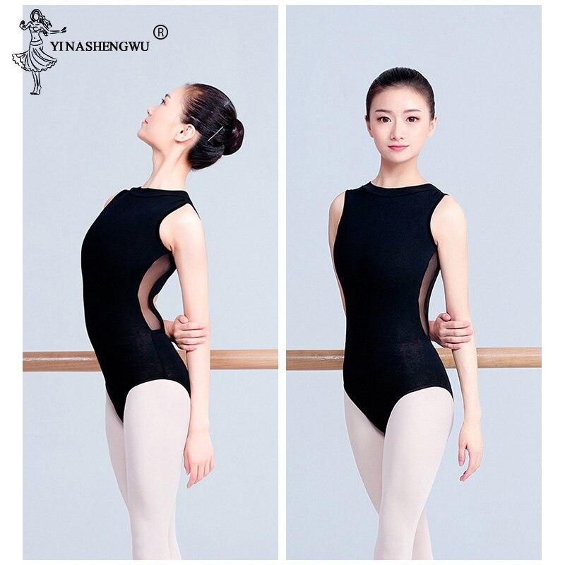 Women Black Mesh Dance Leotards High Collar Ballet Leotards Adult Ballet Practice Dance Costume Open Back Gymnastics Leotard