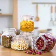 1PCS Clear Glass Storage Jar With Lid Household Honey Jar Lemon Passion Fruit Jar Food Canned Storage Bottle Pickle Pickled Jar