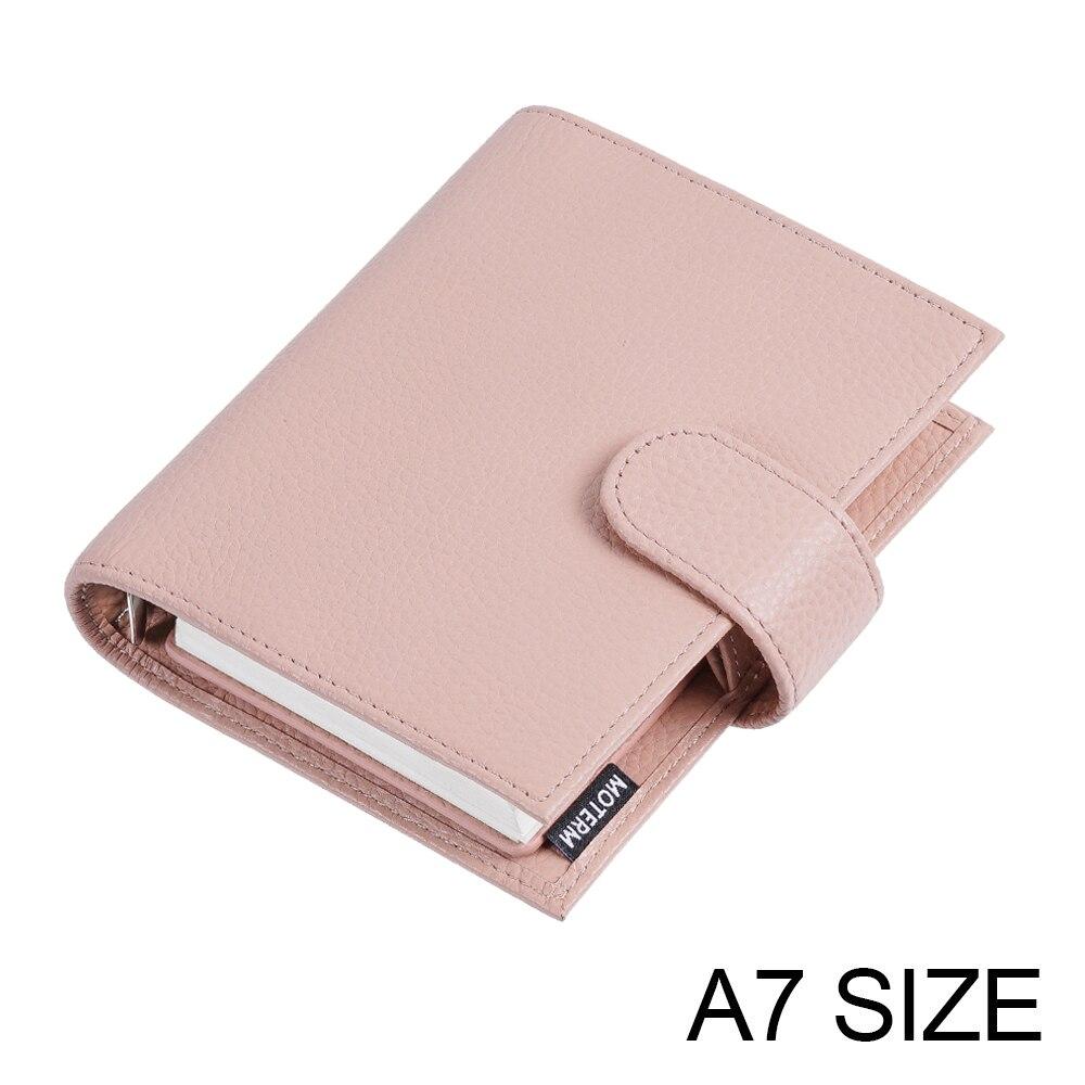 Mois Litchi – planificateur en cuir, anneaux de poche réguliers, Mini Agenda A7, carnet de notes en cuir de vache, Journal intime, carnet de croquis