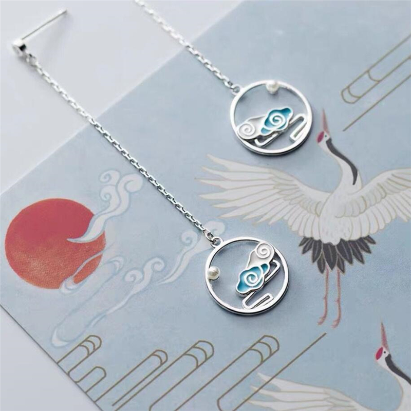 Sole Memory Literature Art Original Cloud Auspicious Luck 925 Sterling Silver Fashion Female Dangle Earrings SEA716