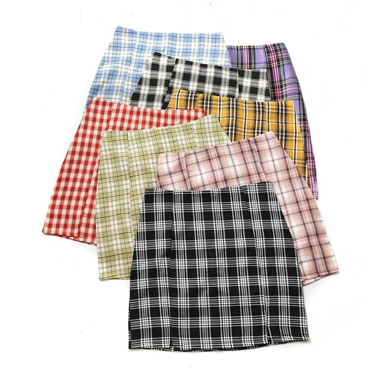 Women Plaid Skirt 2020 Streetwear Slim A-line Skirt High Waist Split Short Skirt Harajuku Lattice Skirts Womens