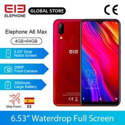 Elephone A6 MAX смартфон, 4 Гб 64 Гб 6,53 '', водонепроницаемая камера 20 МП, Восьмиядерный отпечаток лица, разблокировка Android 9,0