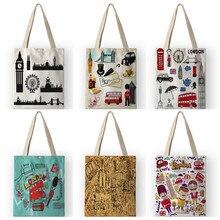 Vinatge – sacs à bandoulière en toile pour femmes, Style britannique, imprimés de dessins animés de londres, sacs à main de Shopping, fourre-tout de voyage AKB01110