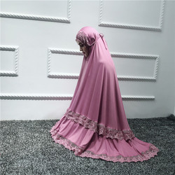 Muslim Worship Robe Women Prayer Garment Sets Abaya Formal Lace Large Swing Maxi Skirts arab Kaftan Islamic clothes kimono jubah