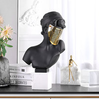MODERN RESIN PORTRAIT MARBLE BASE METAL MASK STATUE ORNAMENTS HOME LIVINGROOM FIGURINES CRAFTS HOTEL LOBBY CHARACTER DECORATION