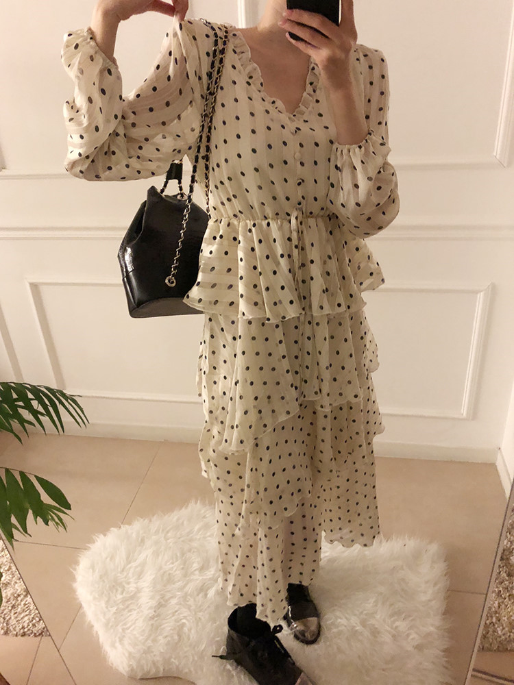Hbc196b5328c94b9e81d51ab1d2809166C - Autumn V-Neck Long Sleeves Satin Polka Dots Multi-Layers Midi Dress