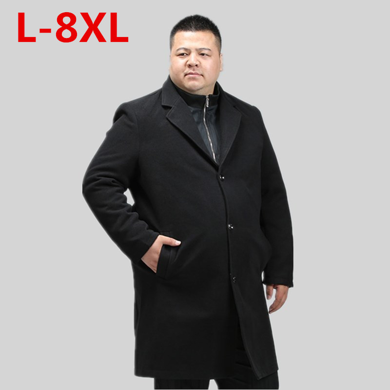 Big Size 8XL 7XL Men's Wool Coats & Jackets Winter Cashmere Jacket Long Section Single Breasted Overcoat Two Piece Set Wool Coat