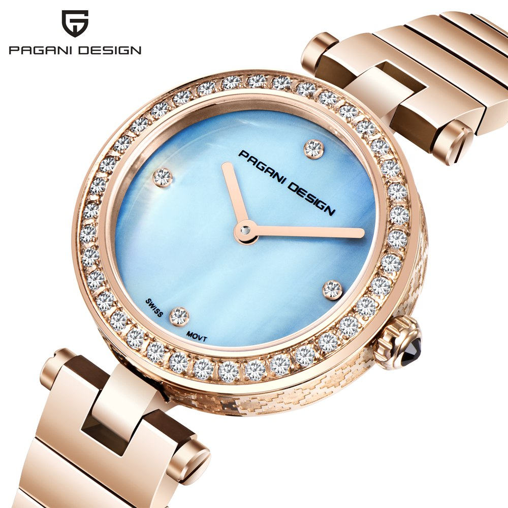 Pagani Design Luxury Brand Rhinestone Watch Women  Sapphire Glass Watches Ladies Stainless Steel Quartz Gold Wrist Watch Female