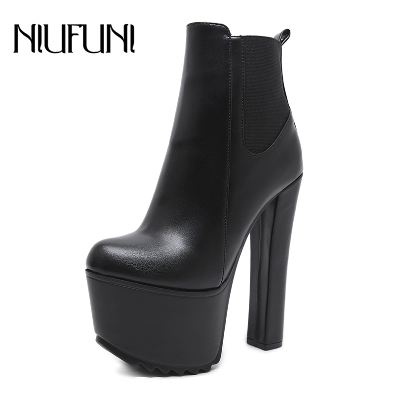 NIUFUNI Ankle Women's Boots 2020 New High Heels Black PU Leather Round Toe Zipper Female Boot Platform Slim Sexy Woman Shoes