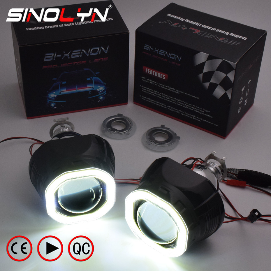 Sinolyn Mini 2.5'' COB <font><b>LED</b></font> Angel Eyes Halo DRL HID Car Projector Lens <font><b>Headlight</b></font> Bi-xenon Retrofit Black Kit H1 H4 H7 Devil Eye image