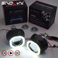 Sinolyn Mini 2.5'' COB LED Angel Eyes Halo DRL HID Car Projector Lens Headlight Bi xenon Retrofit Black Kit H1 H4 H7 Devil Eye