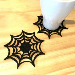 Cup Mats, Non Woven Fabric Cup Coaster Spider Web Pattern Drinks Coaster Cup Mat for Halloween Party Ornaments