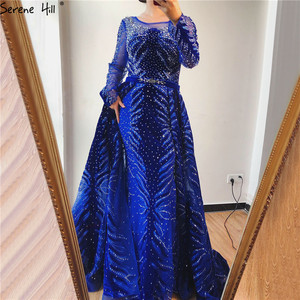 Image 5 - فساتين سهرة فاخرة باللون الأزرق الداكن لعام 2020 فستان حورية البحر بأكمام طويلة مع تنورة فستان رسمي مثير Serene Hill LA60914