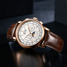 Automatic Watch Mechanical-Wristwatches Corgeut 42mm Moon-Phase Rosegold SS Week 316L