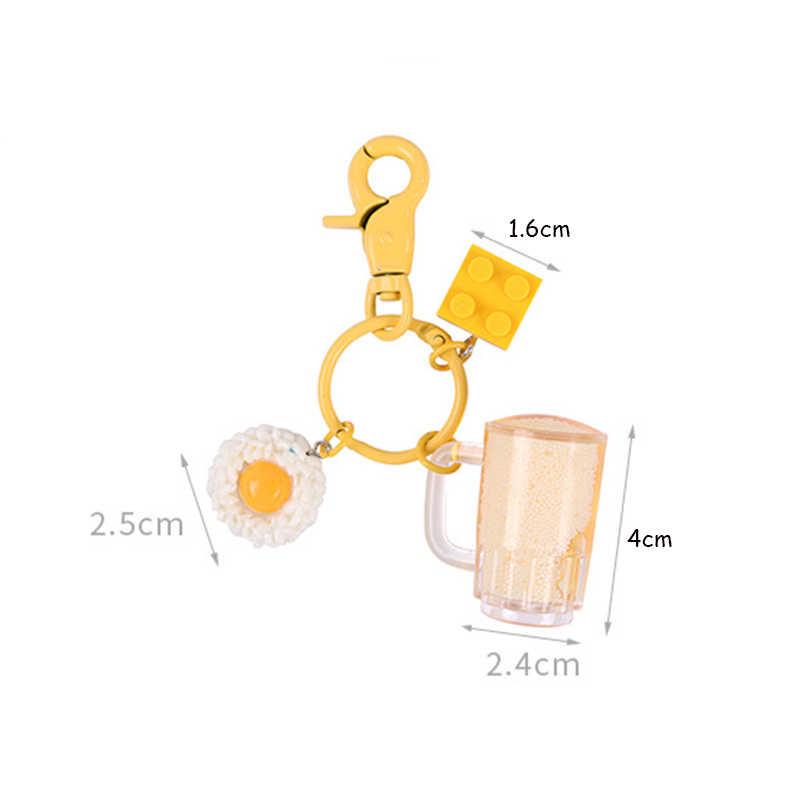 Mode Sleutelhanger Vrouwen Mannen Sieraden Hars Simulatie Bier Hanger Sleutelhanger Auto Handtas Accessoires Sleutelhanger Grappige Giften