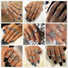 1 juego venta noche estrellada brillante Vintage nudillos anillos para mujeres geométrico anillo de cristal flor conjunto joyería Bohemia 25 Set