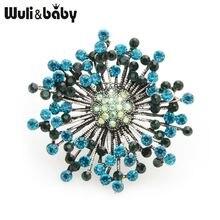 Женские броши в виде цветка wuli & baby Синие стразы свадебная