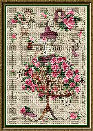 Needlework  14CT   Cross Stitch, DIY Count Cross Stitch, Embroidery Set, Red tailor shop
