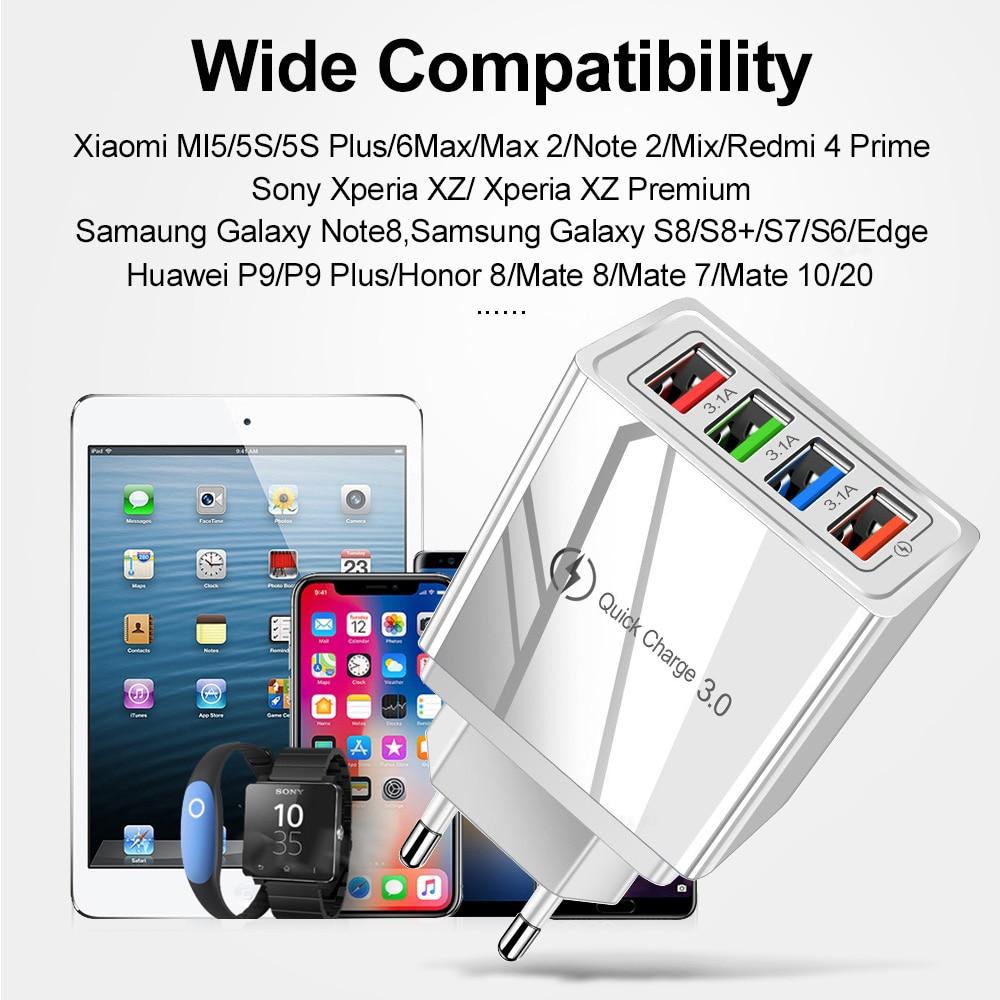 Carregador USB 3.0 EU/US, adaptador de tomada para celular Huawei Mate 30, tablet portátil, carga rápida turbo de parede 2