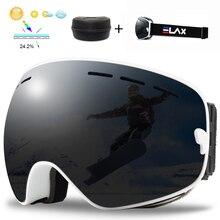 ELAX Double Layers Ski Goggles Anti-fog UV400 Spherical Ski Glasses Skiing Snow Snowboard Goggles Ski Eyewear with BOX