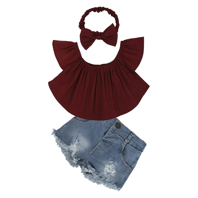 2020 Children Clothing Sets Tracksuit For Baby Girls Clothes Sets Costumes For Kids Clothes Shoulder T-shirt+ Broken Hole Jeans 2
