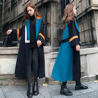 Contrast Color Design Long Woolen Coat Female New 2020 Winter Jacket Women Hepburn Style Chic Loose Thick Sashes Outwear f2156
