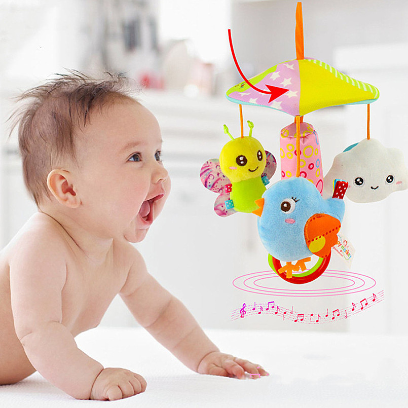 2019 Newborn Toys Baby Mobile Bed Hanging Toddler Stroller Toys Cute Plush Animal Hand Bell Appease Rotating Wind Chime Gift