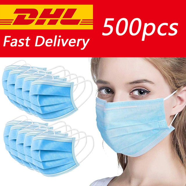 DHL Shipping 200/300/500/1000/2000/5000/10000pcs Disposable Dustproof Surgical Face Mouth Masks Face Mask Anti Virus Influenza