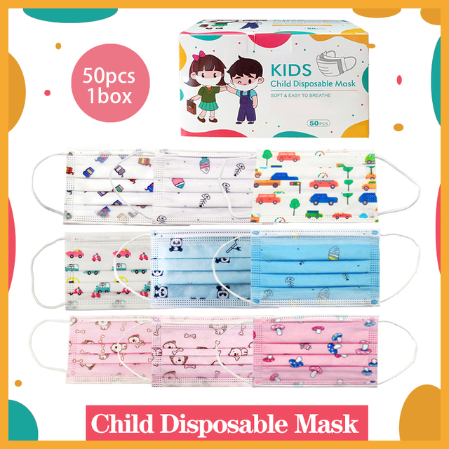 50pcs/1box Child Mask Multiple Choices Children Cartoon Face Mask Animal Character Mouth Mask Boy Girl Kids Disposable Mask